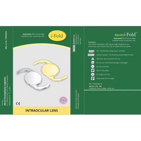 i-Fold Aspheric Surface with 360* Square Edge Optics Hydrophilic Acrylic Foldable IOL